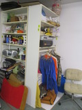 Contents of Shelf Units-Craft Supplies, Rolling Chair, Hooks Racks, Figurines, etc.