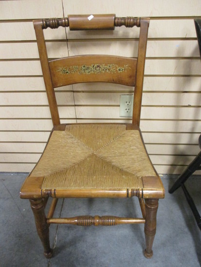Wood Side Chair with Rush Seat