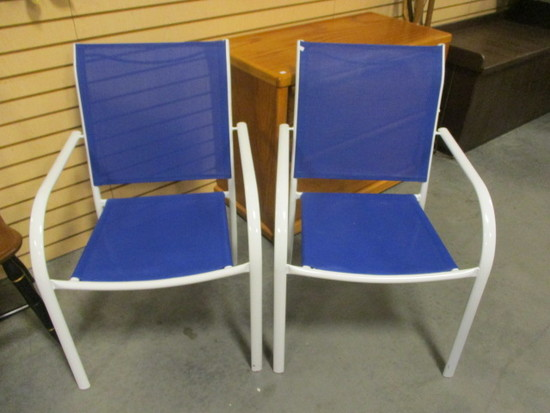 Pair of Stacking Metal Outdoor Chairs