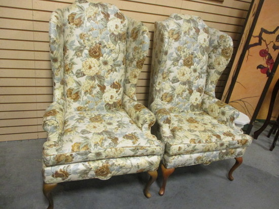 Pair of Upholstered North Hickory Furniture Wing Back Chairs