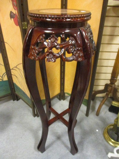 Carved Wood Pedestal/Stand with Marble Insert