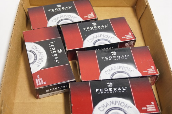 250rds. Of Federal 115gr. FMJ RN 9mm Luger Ammunition