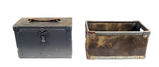Vintage Metal 3-Compartment Camera Box & Another unique box with handles