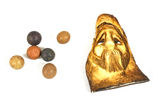 6 Antique Clay Marbles - Red/Blue/Brown & Unique Carved Santa Figurine