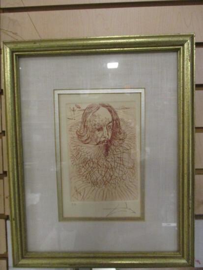 Pencil Signed Salvador Dali Shakespeare's Portrait E.A. Proof Lithograph