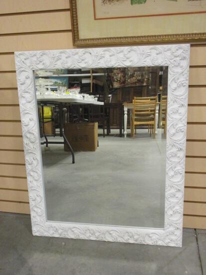 Painted White Wood Frame Beveled Mirror