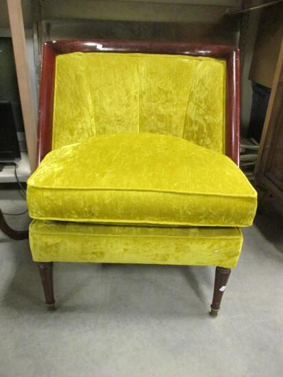 Vintage Wood Frame Velvet Upholstered Dressing Room Chair