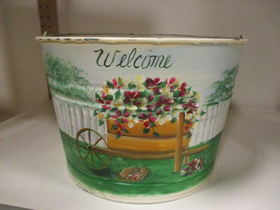 """Hand Painted """"Welcome"""" Galvanized Tub"""