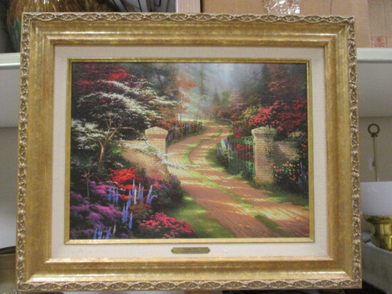 "1999 Limited Edition ""Spring Gate""  Canvas on Board Reproduction by Thomas Kinkade"