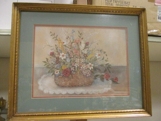 Pencil Signed Floral Basket Still Life by Judith Moore