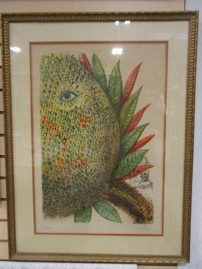 Pencil Signed Salvador Dali Pineapple Lithograph