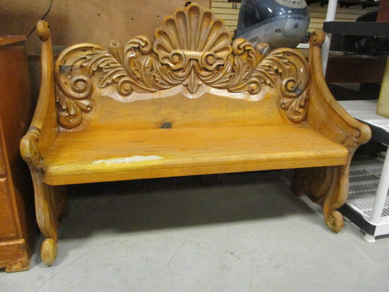 Shell Design Carved Wood Pew/Bench
