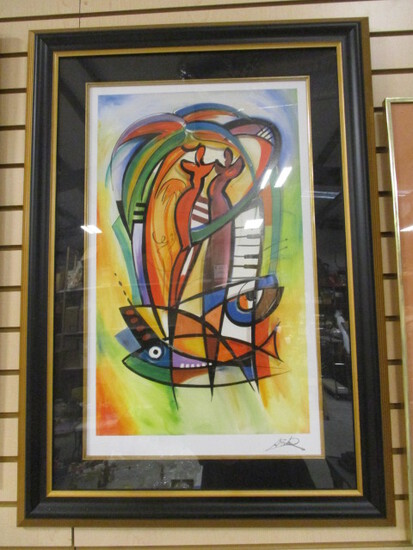 """Framed and Matted """"Rhythm in the Tropics"""" by Alfred Gockel Serialithograph"""