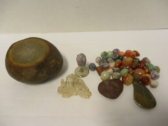 Geode, Small Quartz Crystal Formation and Polished Natural Stones