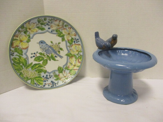 "Andera by Sadek ""The Songbird Collection"" Decorative Plate and Pottery Blue Birds"