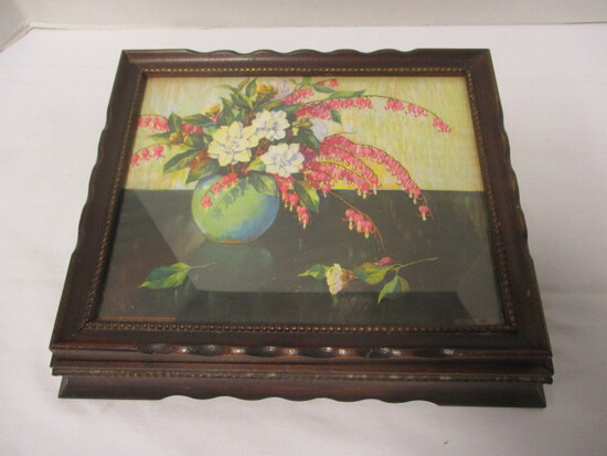 Vintage Lidded Wood Box with Still Life Lithograph Behind Glass