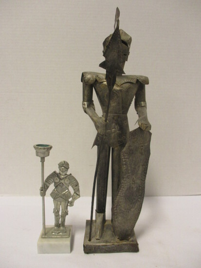 Tin Suit of Armor Figure and Pewter Suit of Armor Candle Holder with Marble Base