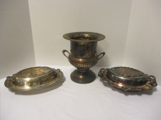 Silverplated Champagne Bucket and Two Covered Serving Dishes