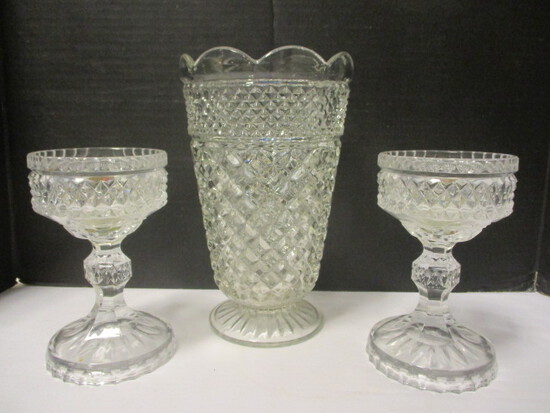 Pressed Glass Pedestal Foot Vase and Pair of Candle Holders