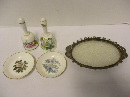 Two Staffordshire Fine Bone China Bells, Two Royal Worchester Coasters and