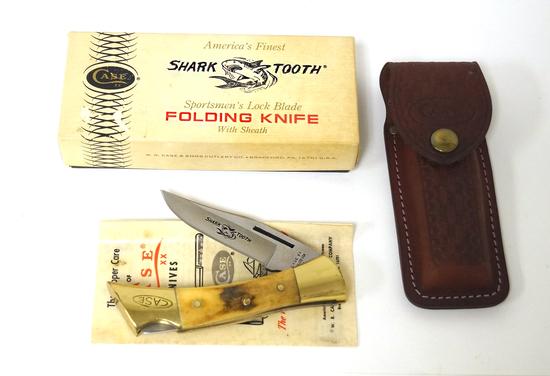 NIB Vintage Case XX Shark Tooth Sportsmen's Lock Blade Folding Knife with Sheath in Box