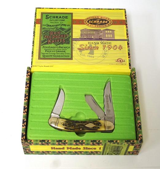 "NIB Schrade's ""Cigar Box Classics"" Tobacco Knife in Box"