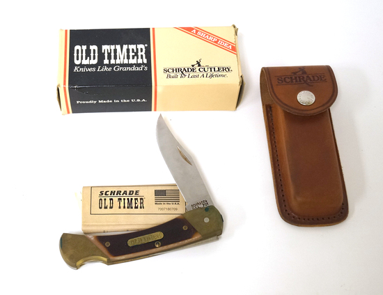 NIB Schrade Old Timer 70T Cave Bear Lockback Knife with Sheath in Box