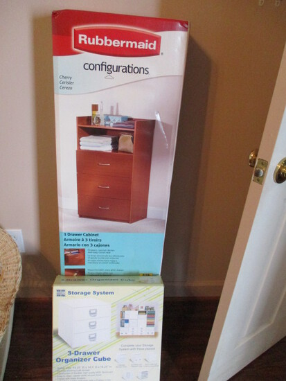 New Rubbermaid Configuration Cherry Finish 3 Drawer Cabinet and Simply Built