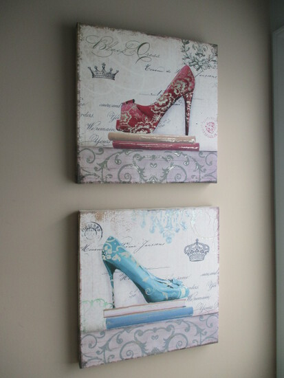 Pair of Stylish High Heel Stretched Canvas Print Art