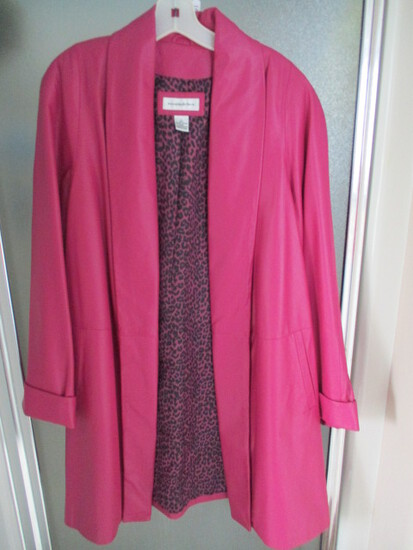 Ladies Preston York Fuchsia Leather Coat