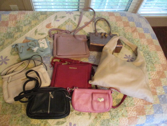 Eight New and Gently Used Name Brand Leather Purses