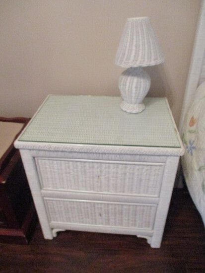 Henry Link Lexington Wicker 2 Drawer Night Stand with Glass Top Protector and