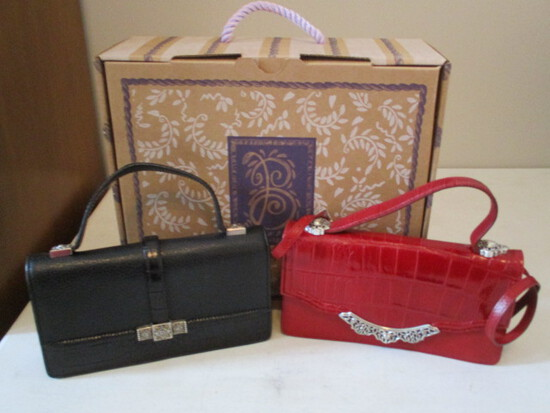 Two Gently Used Leather Brighton Clutch/Shoulder Strap Purses