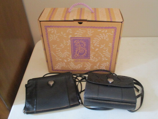 Two Gently Used Brighton Black Leather Crossbody Purses