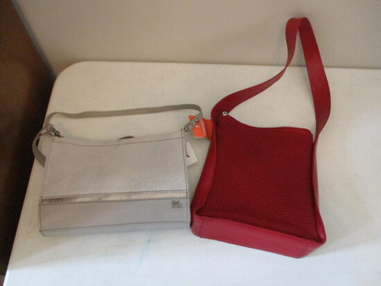 New the Sak Leather Iris Demi Clutch and Red Leather Trim with Tightweave Handbag