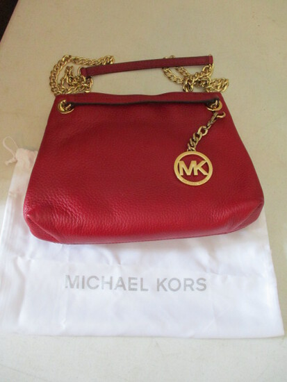 Like New Michael Kors Red Leather Shoulder Clutch with Gold Chain