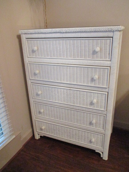 Henry Link Lexington Wicker 5 Drawer Chest with Glass Top Protector
