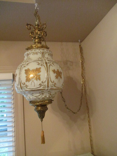 Hollywood Regency Style Gold Flower White Glass Swag Hanging Light
