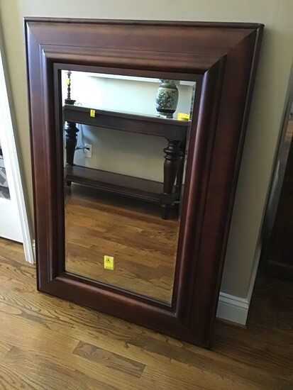 LARGE POTTERY BARN WOOD FRAMED BEVELED GLASS MIRROR