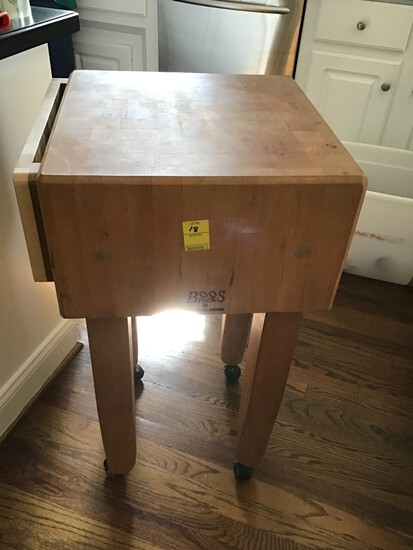 BOOS BUTCHER BLOCK TABLE ON ROLLERS