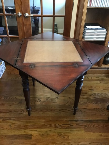 NICE WOOD GAME TABLE WITH SWIVEL TOP AND LEATHER INLAY
