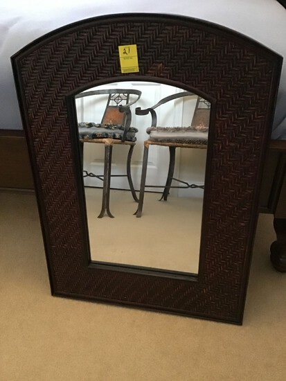 COMPOSITE FAUX WICKER MIRROR