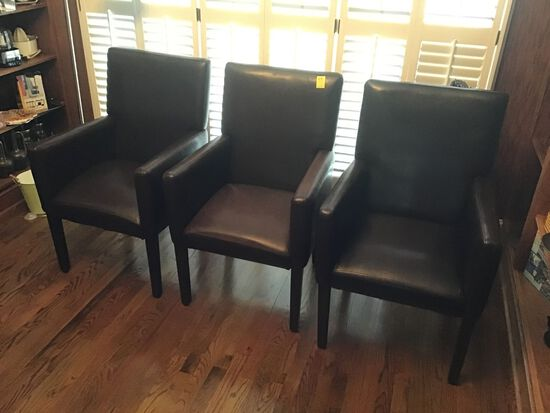 3 DARK BROWN FAUX LEATHER CHAIRS