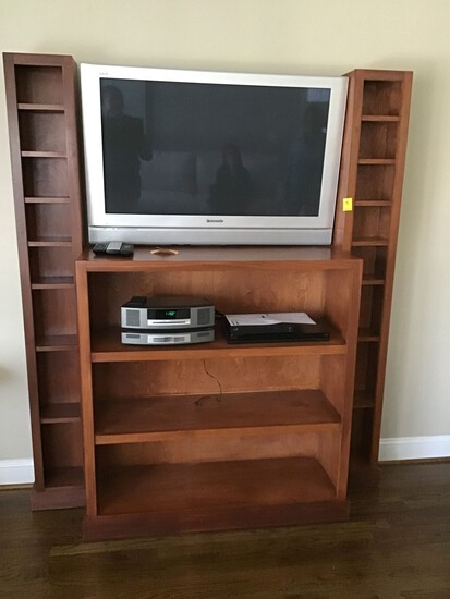 CUSTOM BUILT WOOD TV SURROUND UNIT - TV AND COMPONENTS NOT INCLUDED