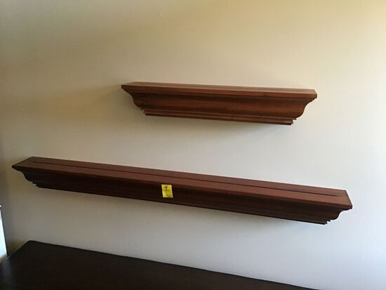PAIR OF WOOD FLOATING SHELVES