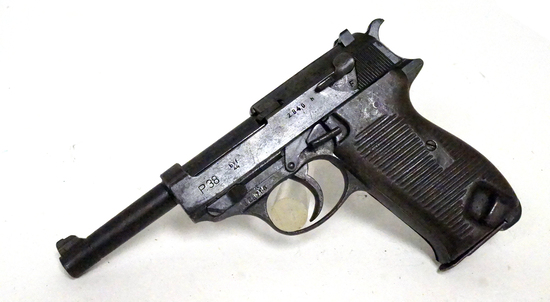 "Interesting Late War French ""Frankenstein"" BYF 44 P38 9mm Semi-Automatic Pistol with Steel Grips"
