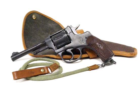 WWII Izhevsk 1944r Nagant 1895 7.62 Nagant Cal. Russian Revolver w/ Holster & Ammo
