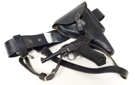 WWII Mauser P.08 BYF 42 Luger Pistol with Holster/Belt Rig