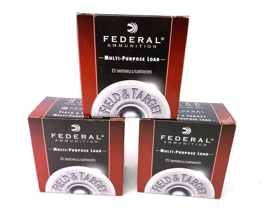 """75 Shotshells of Federal 12 GA. 2-3/4"""" Field & Target Ammunition"""