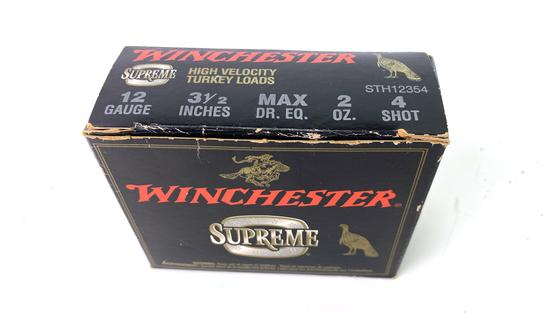 "10 Shotshells of Winchester Supreme 12 GA. 3.5"" High Velocity Turkey Loads Ammunition"
